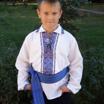 Дитяча вишиванка на хлопчика - синій з чорним