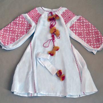 """Українське плаття з китицями на льоні """"Дора"""""""