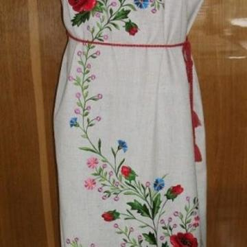 """Жіноча вишита сукня """" Маковий колір"""""""