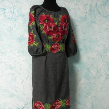 """Українське плаття """"Маки на сірому"""""""