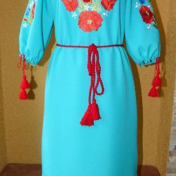 """Українське вишите плаття """"Небо над полем з маками"""""""