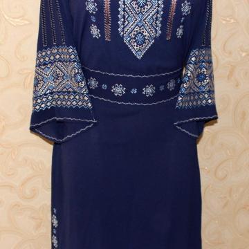 """Жіноче плаття на темно-синьому шифоні """"Блакитне мерехтіння"""""""