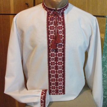Сорочка вишиванка чоловіча червоно - чорний орнамент