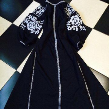 """Жіноча сукня бохо на темно-синьому льоні """"Цариця"""""""